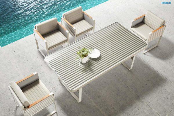 Airport ekskluzywne meble ogrodowe zestaw obiadowy aluminium HIGOLD stół krzesła