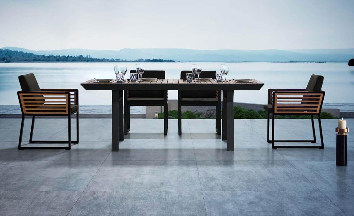 New York ekskluzywny zestaw obiadowy dla 6 osób Higold meble aluminiowe wykończone drewnem tekowym