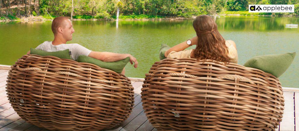 Coconn meble ogrodowe technorattan - zestaw wypoczynkowy Apple Bee - fotele ogrodowe Coccoon z technorattanu