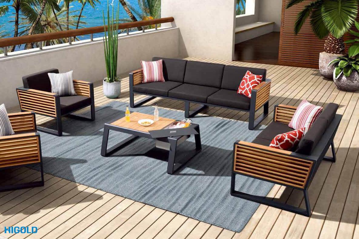 New York ekskluzywne meble aluminiowe duży zestaw wypoczynkowy HIGOLD luksusowe meble ogrodowe