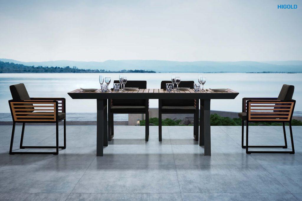 New York ekskluzywny zestaw obiadowy z aluminium luksusowe meble aluminiowe HIGOLD