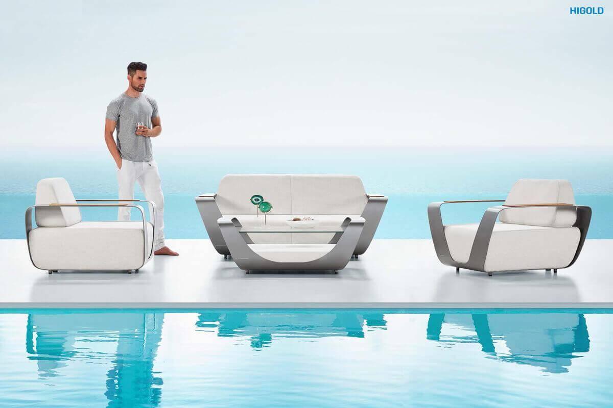 Onda Pininfarina luksusowy zestaw wypoczynkowy meble aluminiowe Higold