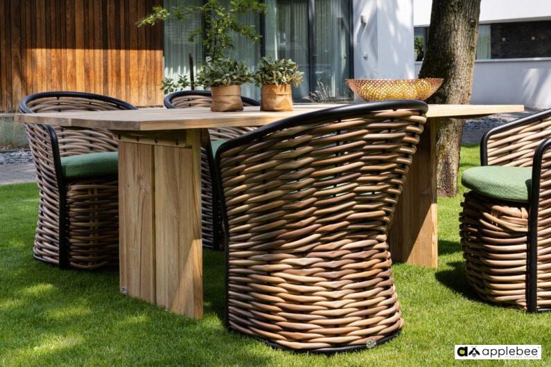 Cocoon ekskluzywny zestaw obiadowy technorattan i drewno tekowe - stół ogrodowy i 4 fotele ogrodowe Cocoon
