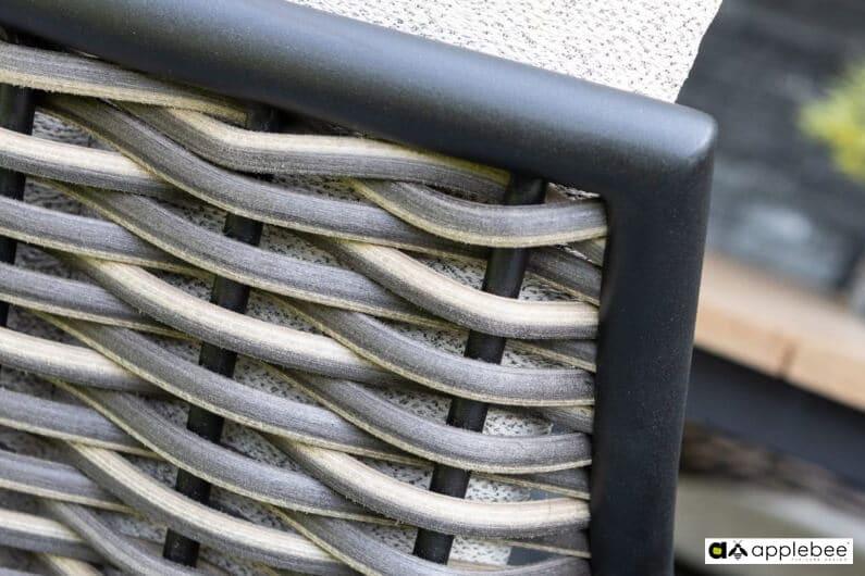 Milou luksusowy zestaw obiadowy technorattan alumimium - stół ogrodowy z drewna tekowego Apple Bee detale krzesła ogrodowego