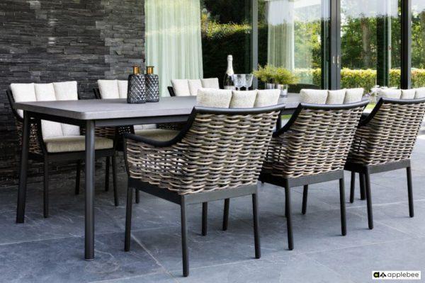 Milou luksusowy zestaw obiadowy technorattan alumimium - stół ogrodowy z blatem z betonu Apple Bee