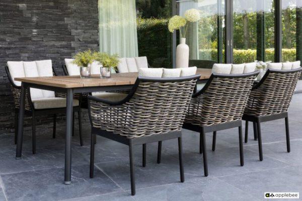 Milou luksusowy zestaw obiadowy technorattan alumimium - stół ogrodowy z drewna tekowego Apple Bee