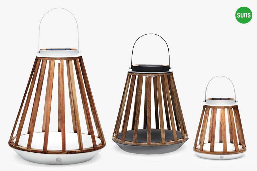 Kate ogrodowe lampy solarne z drewna teakowego rozmiar S M L biały szary aluminium SUNS