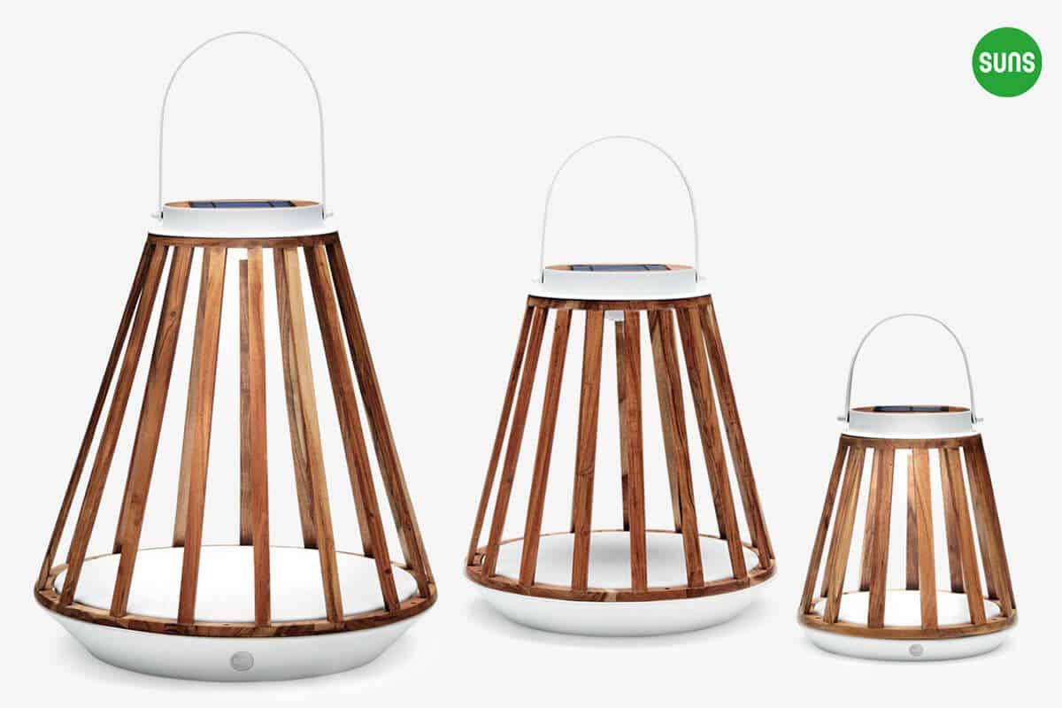 Kate ogrodowe lampy solarne z drewna tekowego Sklep
