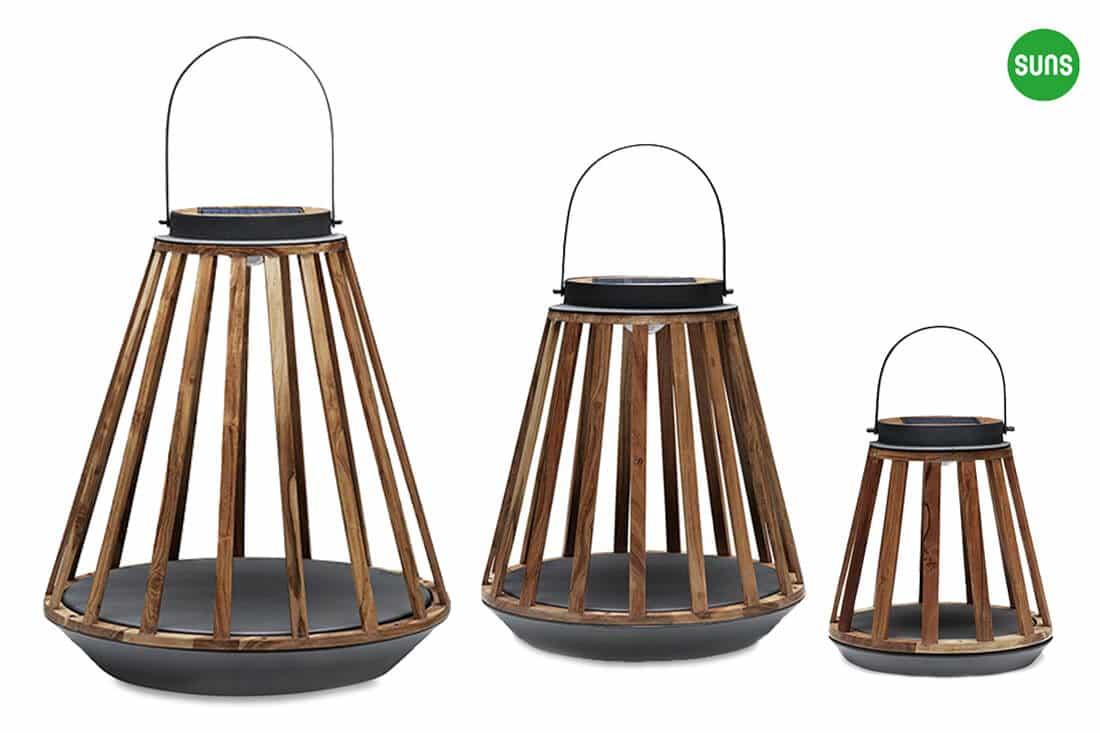 Kate ogrodowe lampy solarne z drewna teakowego rozmiar S M L szare aluminium SUNS