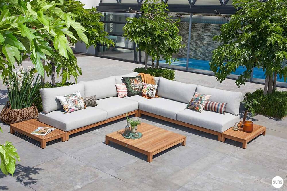 Portofino Luksusowy Narożny Zestaw Wypoczynkowy Z Drewna Tekowego