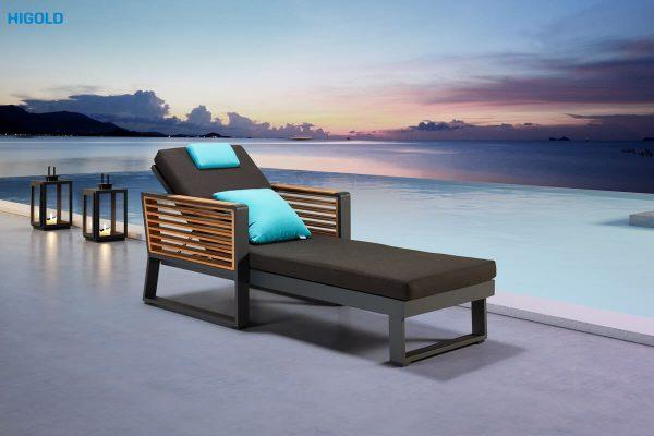 New York elegancki leżak ogrodowy z aluminium i drewna tekowego