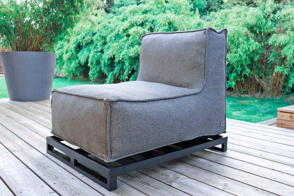 C-1 nowoczesny narozny fotel ogrodowy z tkaniny | Rama aluminiowa podwyższająca mebel