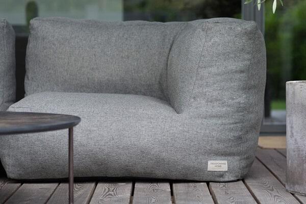 C-1 nowoczesny narożny fotel ogrodowy z tkaniny