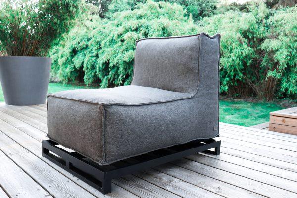C-2 Edge nowoczesny fotel ogrodowy z tkaniny | Fotel ogrodowy z podstawą aluminiową (opcja)