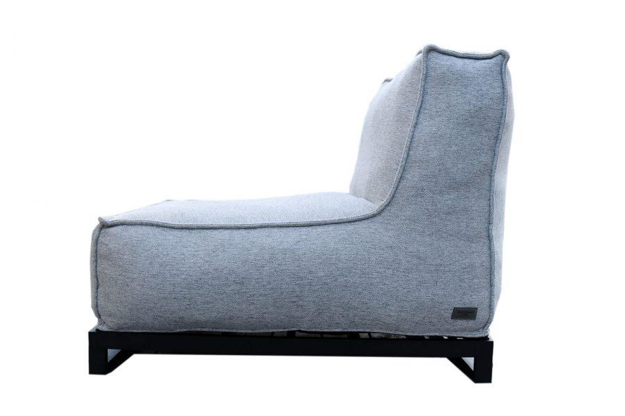 C-2 Edge nowoczesny fotel ogrodowy z tkaniny | Fotel ogrodowy jasny szary melanż z podstawą aluminiową (opcja)