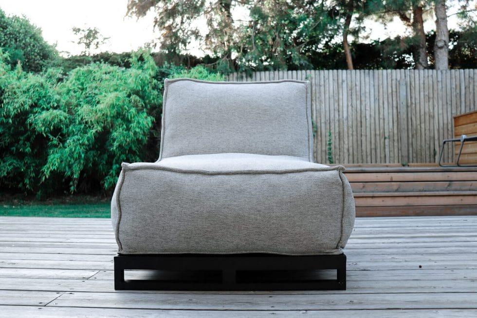 C-2 Edge nowoczesny fotel ogrodowy z tkaniny   Fotel ogrodowy jasny szary melanż z podstawą aluminiową (opcja)
