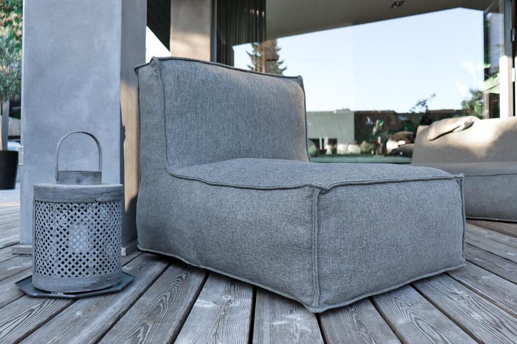 C-2 Edge nowoczesny fotel ogrodowy z tkaniny - kolor ciemny szary melanż
