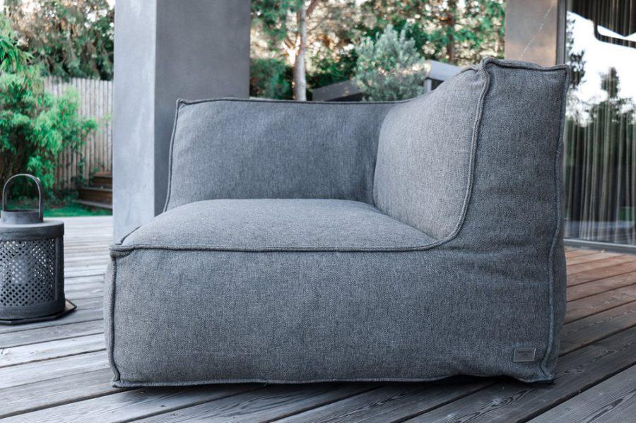 C-2 Edge nowoczesny narożny fotel ogrodowy z tkaniny TroisPommes Home luksusowe meble ogrodowe