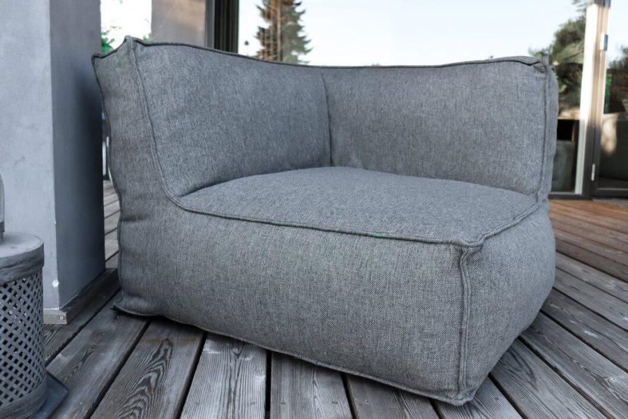 C-2 Edge nowoczesny narożny fotel ogrodowy z tkaniny TroisPommes Home luksusowe meble ogrodowe tkanina Olefin kolor ciemny szary melanż