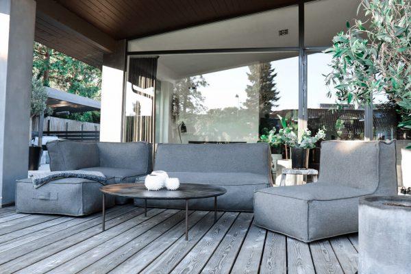 C-2 Edge nowoczesny zestaw ogrodowy z tkaniny TroisPommes Home luksusowe meble ogrodowe