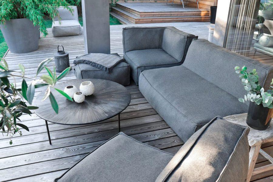 C-2 Edge nowoczesny zestaw ogrodowy z tkaniny TroisPommes Home luksusowe meble ogrodowe kolor ciemny szary melanż