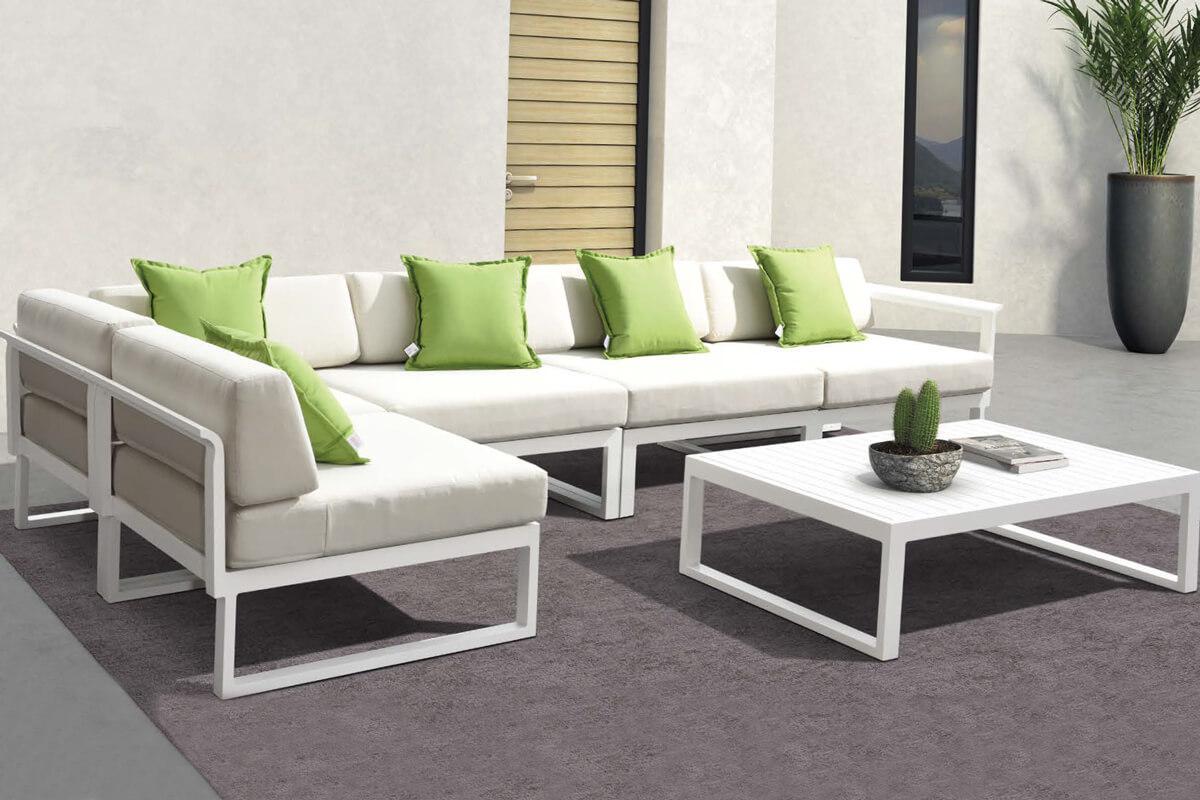 Wyprzedaże mebli ogrodowych Ibiza meble aluminiowe narożny zestaw wypoczynkowy nowoczesne meble do ogrodu w promocji