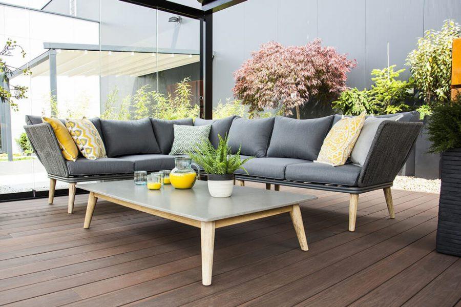 Corfu 2 elegancki narożnik ogrodowy zestaw wypoczynkowy 6 osobowy luksusowe meble ogrodowe
