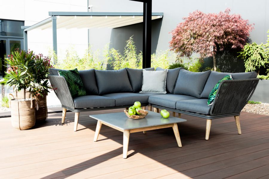 Corfu nowoczesny narożnik ogrodowy - zestaw wypoczynkowy 5 osobowy - luksusowe meble ogrodowe
