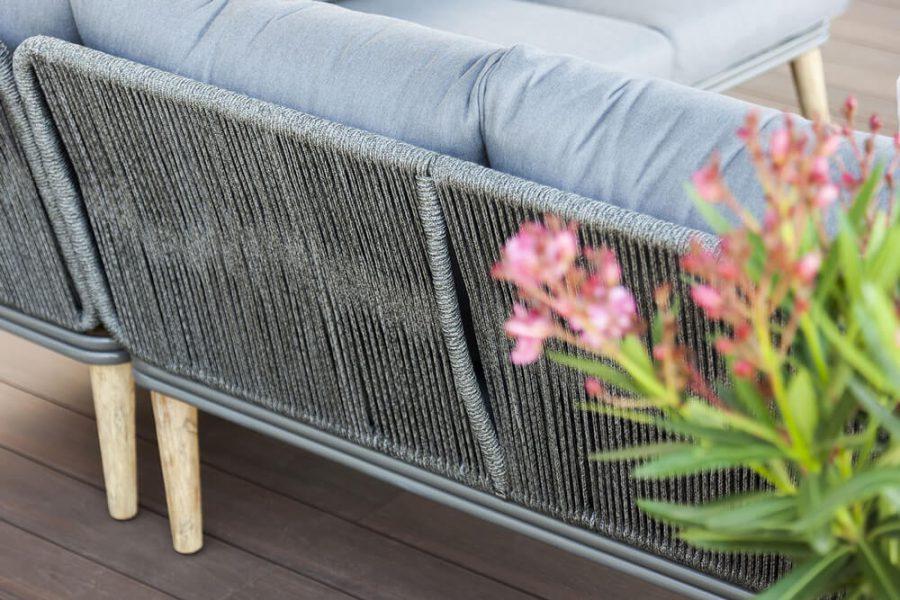 Corfu nowoczesny narożnik ogrodowy - zestaw wypoczynkowy 5 osobowy - luksusowe meble ogrodowe - tył narożnika ogrodowego lina polipropylenowa
