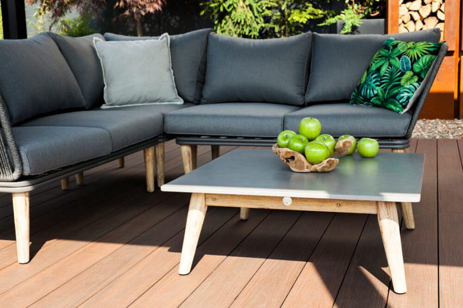 Corfu nowoczesny narożnik ogrodowy - zestaw wypoczynkowy 5 osobowy - luksusowe meble ogrodowe - drewno eukaliptusowe, lina polipropylenowa