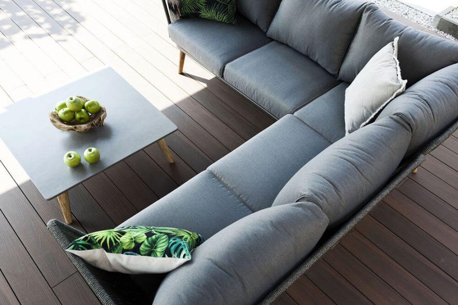 Corfu nowowczesny narożnik ogrodowy - zestaw wypoczynkowy 5 osobowy - luksusowe meble ogrdowe - poduszki ogrodowe z tkaniny hydrofobowej
