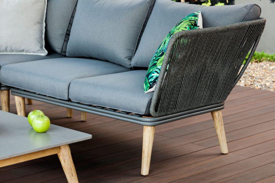 Corfu nowoczesny narożnik ogrodowy - zestaw wypoczynkowy 5-osobowy - luksusowe meble ogrodowe