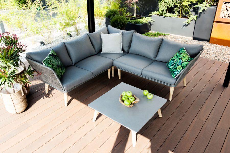Corfu nowoczesny narożnik ogrodowy - zestaw-wypoczynkowy 5-osobowy - luksusowe meble ogrodowe - poduszki hydrofobowe