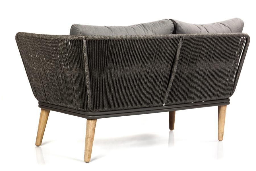 Corfu nowoczesny narożnik ogrodowy zestaw wypoczynkowy 5-osobowy - luksusowe meble ogrodowe - sofa ogrodowa podwojna detale tył mebla lina polipropylenowa