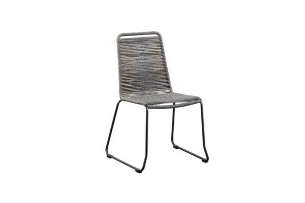 Elos krzesło ogrodowe na płozach szara lina polipropylenowa nowoczesne meble ogrodowe SUNS
