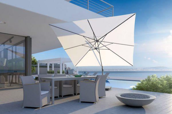 parasol ogrodowy challenger T1 3 x 3 m kwadratowy z boczną nogą kolor biały luksusowe parasole ogrodowe Platinum