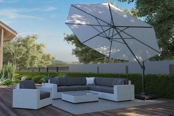 Parasol ogrodowy Challenger T1 Ø 3.5 m okrągły z boczną nogą kolor biały luksusowe parasole ogrodowe Platinum