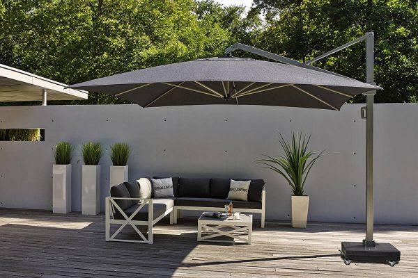 Parasol ogrodowy Icon 4 x 3 m prostokątny z boczną nogą luksusowe parasole ogrodowe Platinum