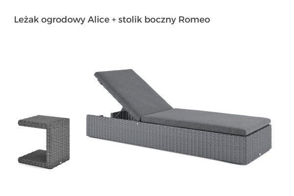 Alice leżak ogrodowy z technorattanu oraz stolik boczny Romeo w kolorze szarym