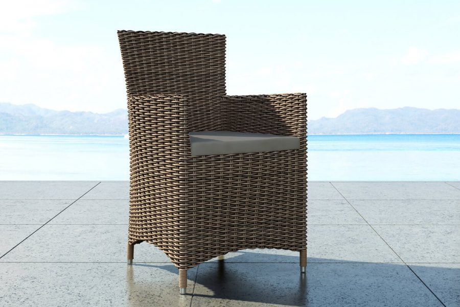 Amanda elegancki fotel ogrodowy z technorattanu kolor piaskowy (beżowy)