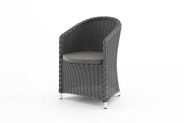 Dolce Vita wygodny fotel ogrodowy z technorattanu w kolorze szarym