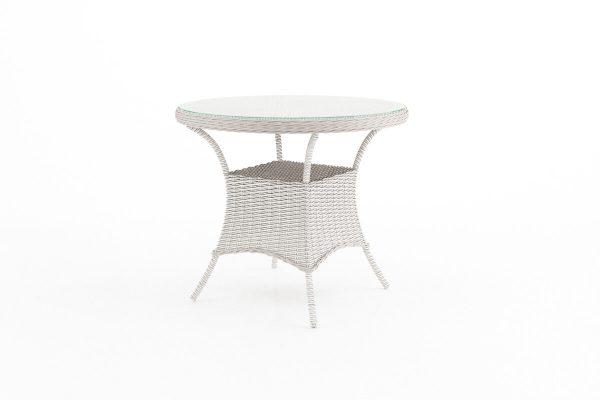 Filip okrągły stół ogrodowy z technorattanu - kolor biały