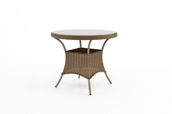 Filip okrągły stół ogrodowy z technorattanu - kolor piaskowy