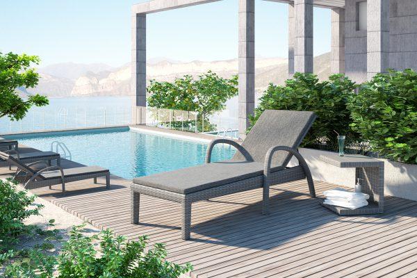 Grazia leżak ogrodowy z technorattanu kolor szary niski stolik boczny Romeo kolor szary leżanka ogrodowa meble technorattanowe Oltre