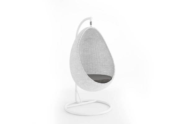 Kokon fotel wiszący huśtawka z technorattanu - kolor biały