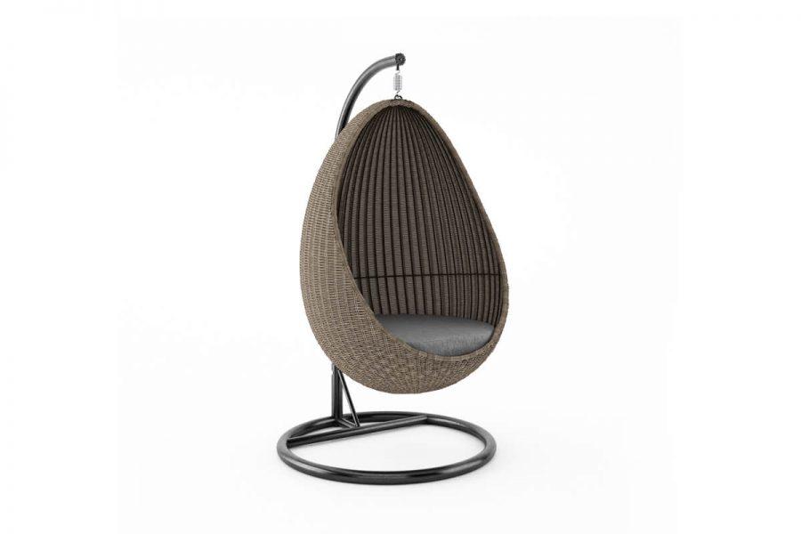 Kokon fotel wiszący huśtawka z technorattanu - kolor piaskowy