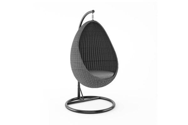 Kokon fotel wiszący huśtawka z technorattanu - kolor szary