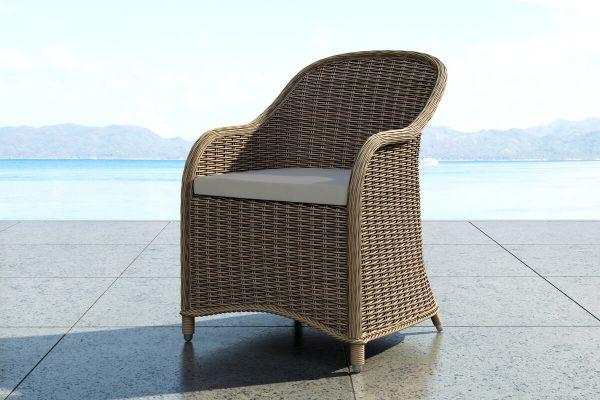 Leonardo elegancki fotel ogrodowy z technorattanu - kolor piaskowy