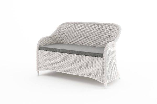 Leonardo komplet mebli ogrodowych z technorattanu - podwójna sofa ogrodowa - kolor biały