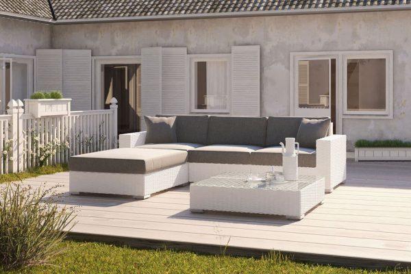 Milano 1 narożnik ogrodowy z technorattanu w kolorze białym - eleganckie meble ogrodowe Oltre